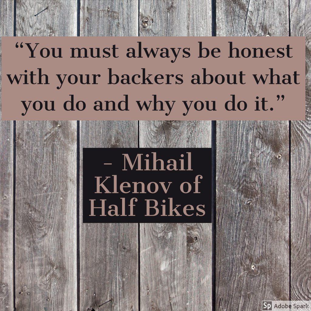 Milhail Klenov of half bikes