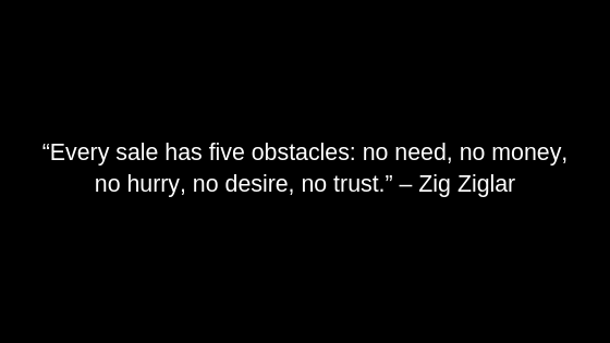 """Every sale has five obstacles: no need, no money, no hurry, no desire, no trust."" – Zig Ziglar"